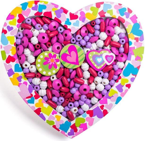 Woody Navlékací korálky - Srdce