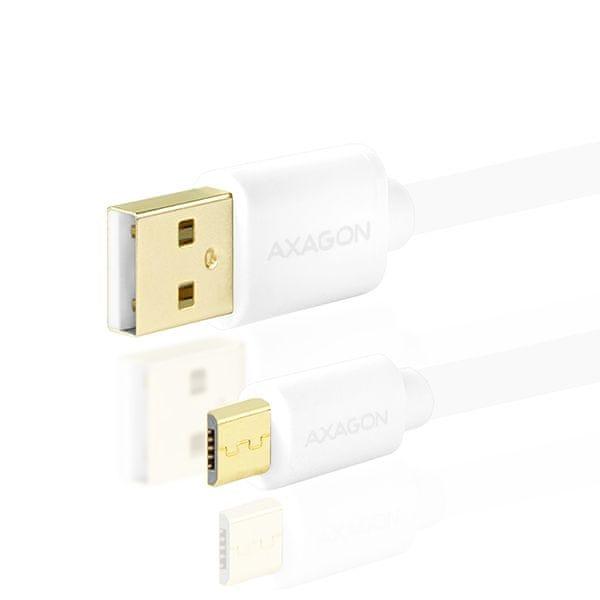AXAGON BUMM-AM30QW, HQ Kabel Micro USB - USB A, datový a nabíjecí 2A, bílý, 3 m BUMM-AM30QW