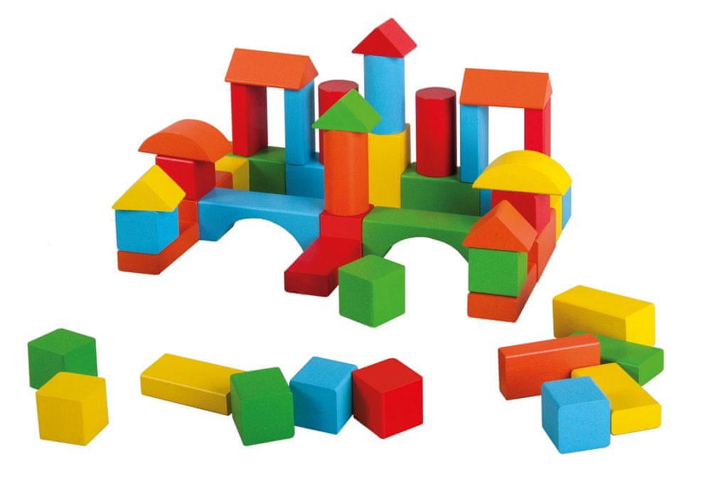 Detoa Kostky stavebnice dřevo 50 ks v krabici 20x19x8 cm
