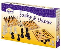 Detoa Šachy a dáma dřevo společenská hra v krabici 35x23x4 cm