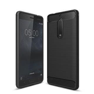 Silikonski ovitek Mat Carbon za Nokia 6, črn, za model 2018