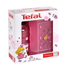 Tefal Zestaw plastikowe pudełko KIDS + butelka tritan 0,4 L różowa – księżniczka K3169114