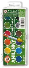 Barvy vodové anilinky 12 odstínů - 22,0 mm brilantní barvy