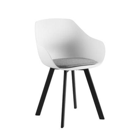 Design Scandinavia Jídelní židle Vilma s kovovou podnoží (SET 2 ks), bílá/šedá