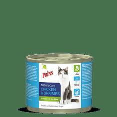 Prins mačja konzerva NatureCare, piščanec in morski rakci, 200 g