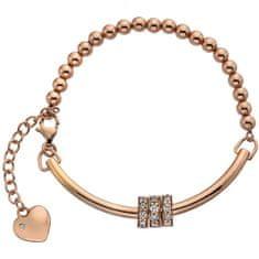 Hot Diamonds Růžově zlatý náramek se srdíčkem a diamantem Parade DL534 stříbro 925/1000
