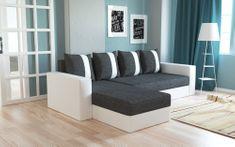 Rohová sedačka VERA, univerzální provedení, černá látka/bílá ekokůže