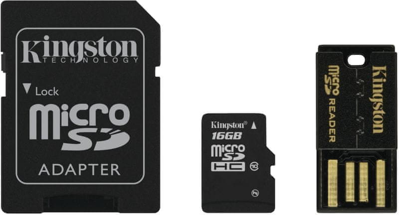 Kingston Micro SDHC 16GB Class 10 + SD adaptér + USB čtečka (MBLY10G2/16GB)