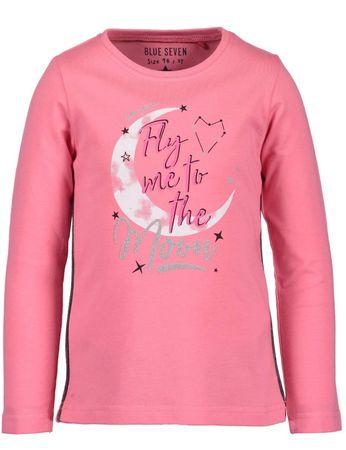 Blue Seven dziewczęca koszulka z księżycem, 92, różowa