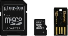 Kingston microSDHC 32GB (class 10) + adaptér na SD + USB čítačka