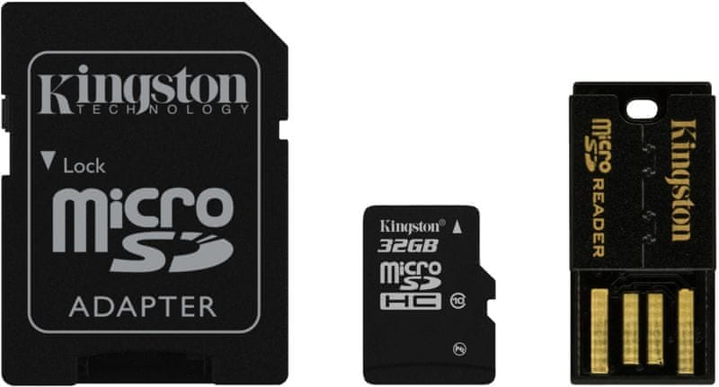 Kingston Micro SDHC 32GB Class 10 + SD adaptér + USB čtečka (MBLY10G2/32GB)