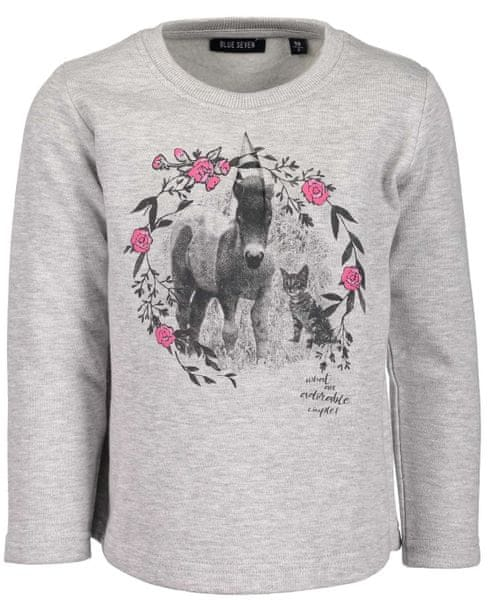 Blue Seven dívčí tričko s koněm 98 šedá