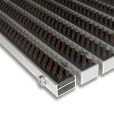 FLOMAT Hnědá hliníková kartáčová venkovní vstupní rohož Alu Super, FLOMAT - 2,2 cm