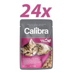 Calibra mokra hrana za mačje mladiče Kitten, puran in piščanec, 24x100 g