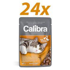 Calibra mokra hrana za mačke, raca in piščanec, 24 x 100 g