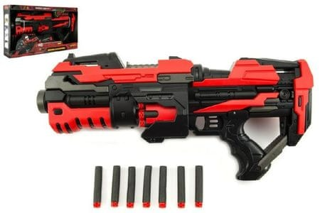 Teddies Pistole na pěnové náboje plast 45cm na baterie v krabici