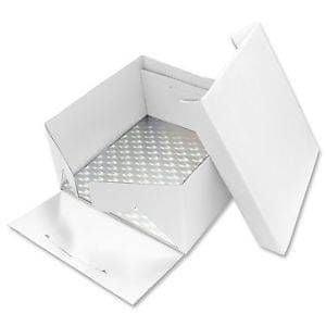 PME Podložka dortová stříbrná čtverec 22,8cm x 22,8cm + dortová krabice  s víkem