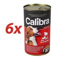 Calibra mokra hrana za pse, govedina, jetra in zelenjava, 6x1240 g