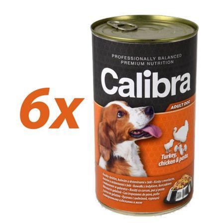 Calibra mokra hrana za pse, puran, piščanec in testenine, 6x1240 g