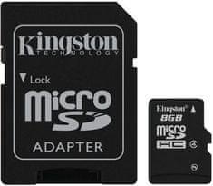 Kingston Micro SDHC 8GB Class 4 + SD adaptér (SDC4/8GB)