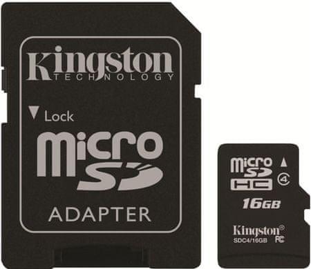Kingston Micro SDHC 16GB Class 4 + SD adaptér (SDC4/16GB)