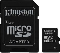 Kingston Micro SDHC 32GB Class 4 + SD adaptér (SDC4/32GB)