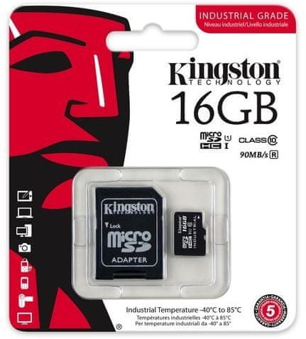 Kingston Industrial Micro SDHC 16GB Class 10 UHS-I + SD adaptér (SDCIT/16GB)