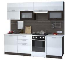 Kuchyně VIALERIA 180/240 cm bez pracovní desky, korpus - wenge, dvířka - bílý lesk