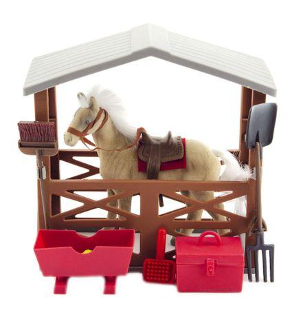 Teddies Kôň flíska so stajňou a doplnkami