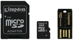 Kingston Micro SDHC 16GB Class 4 + SD adaptér + USB čtečka (MBLY4G2/16GB)