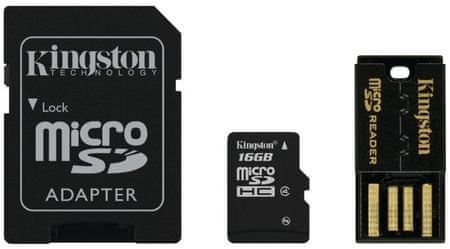 Kingston Micro Secure Digital (microSD) kartica 16 GB + SD adapter (MBLY4G2)