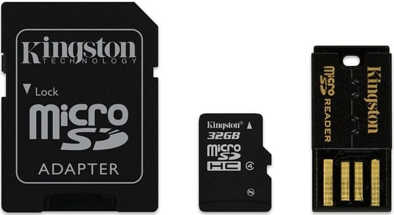 Kingston Micro SDHC 32GB Class 4 + SD adaptér + USB čtečka (MBLY4G2/32GB)