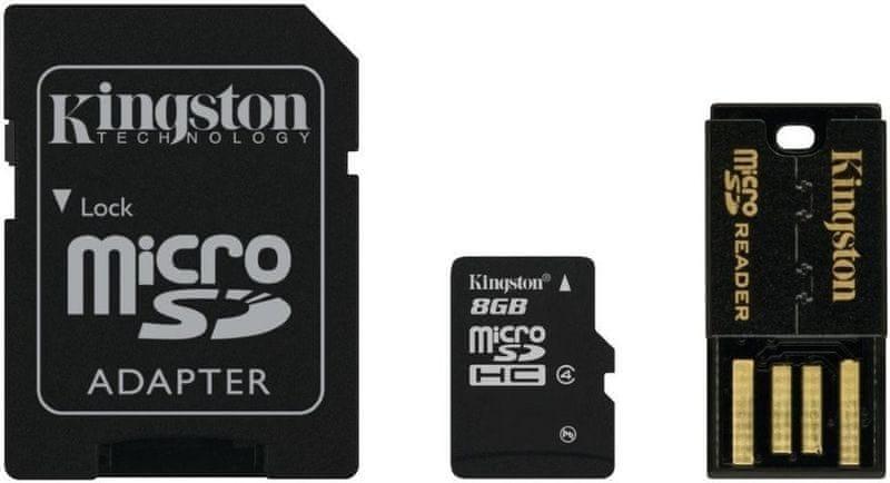 Kingston Micro SDHC 8GB Class 4 + SD adaptér + USB čtečka MBLY4G2/8GB
