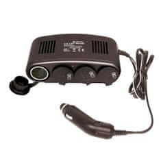 CarPoint Rozčtyřka 12V - s kabelem Lux 10A a LED kontrolkou černá