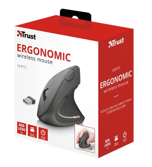 Trust brezžična ergonomska miška Verto