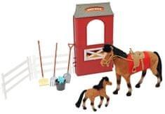 Mac Toys Kůň 20 cm a 10 cm se stájí