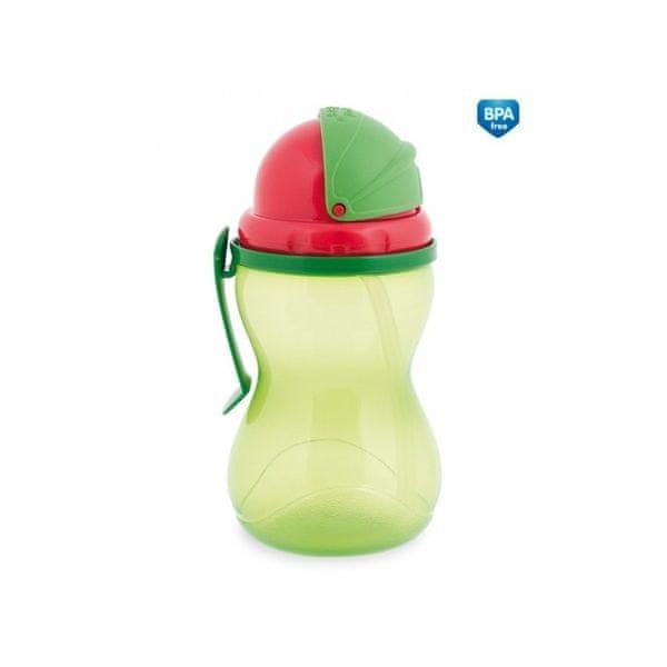 Canpol babies Láhev sportovní se slámkou 370 ml, Zelená