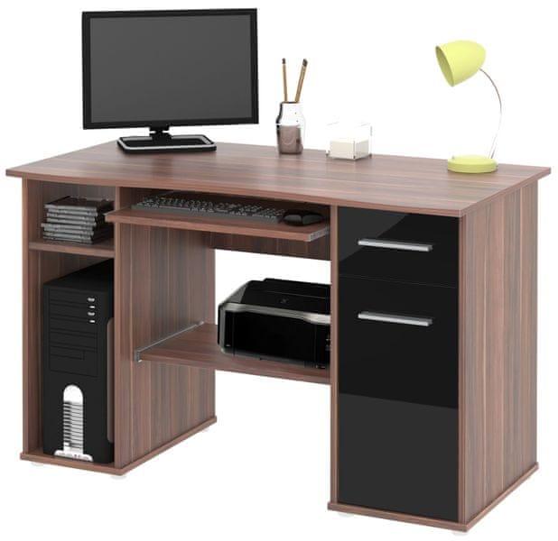 Kancelářský PC stůl SEMUEL, švestka/černý lesk