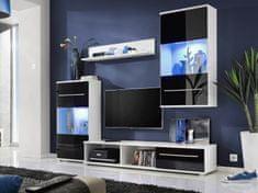 LIIPI, obývací stěna, bílá/černý lesk