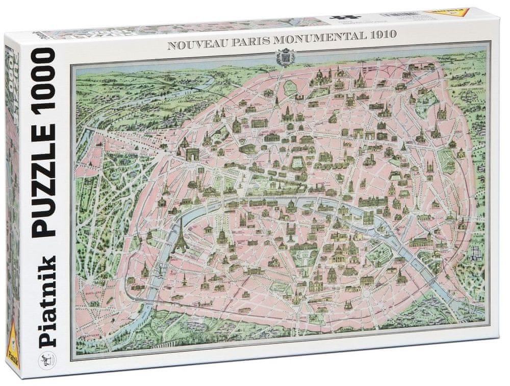 Piatnik Mapa Paříže 1910 1000 dílků