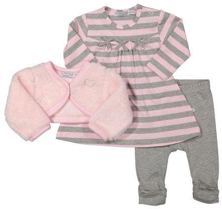 Dirkje dívčí kojenecký set s plyšovým bolerkem 68 ružová