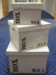 Danish Style Sada 3 úložných krabic s víkem Wood No. 1,2,3, čtverce