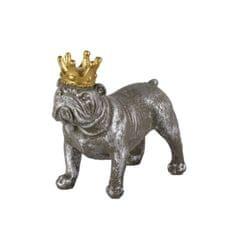 Danish Style Interiérová dekorace Crown Dog standing, 15,5 cm, beton