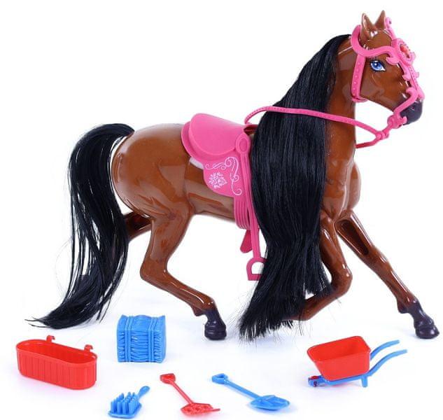 Rappa Kůň česací plastový 34 cm s příslušenstvím tmavě hnědý