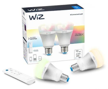 WiZ LED Žárovka colors A E27 - 806 lm 2 ks + dálkové ovládání