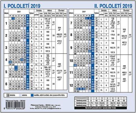 Kalendář plánovací karta A5