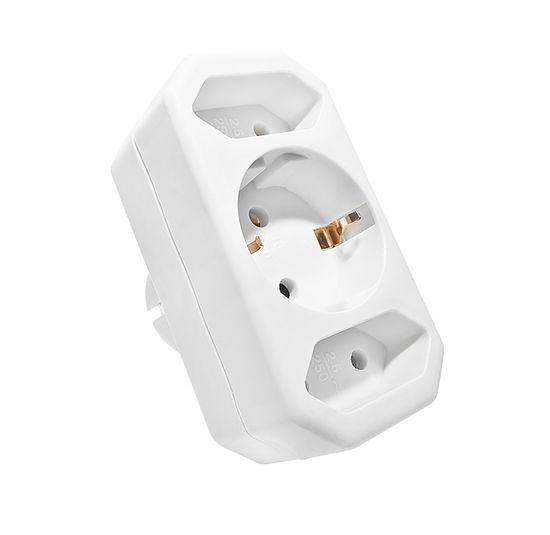 Klan električni razdelilnik, 1x F in 2x C vtičnice, bel