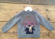 Minoti fantovski pulover z motivom mačke, 62 - 68, siva