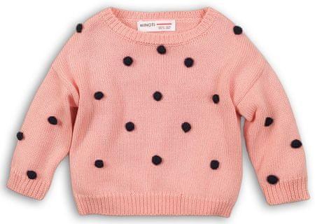 Minoti Dievčenský sveter s čiernymi brmbolcami68 - 80 ružová