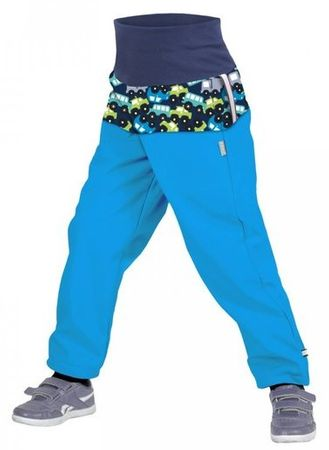 Unuo fantovske flis slim hlače softshell, SLIM z motivom avtomobilov, 98/104, modre